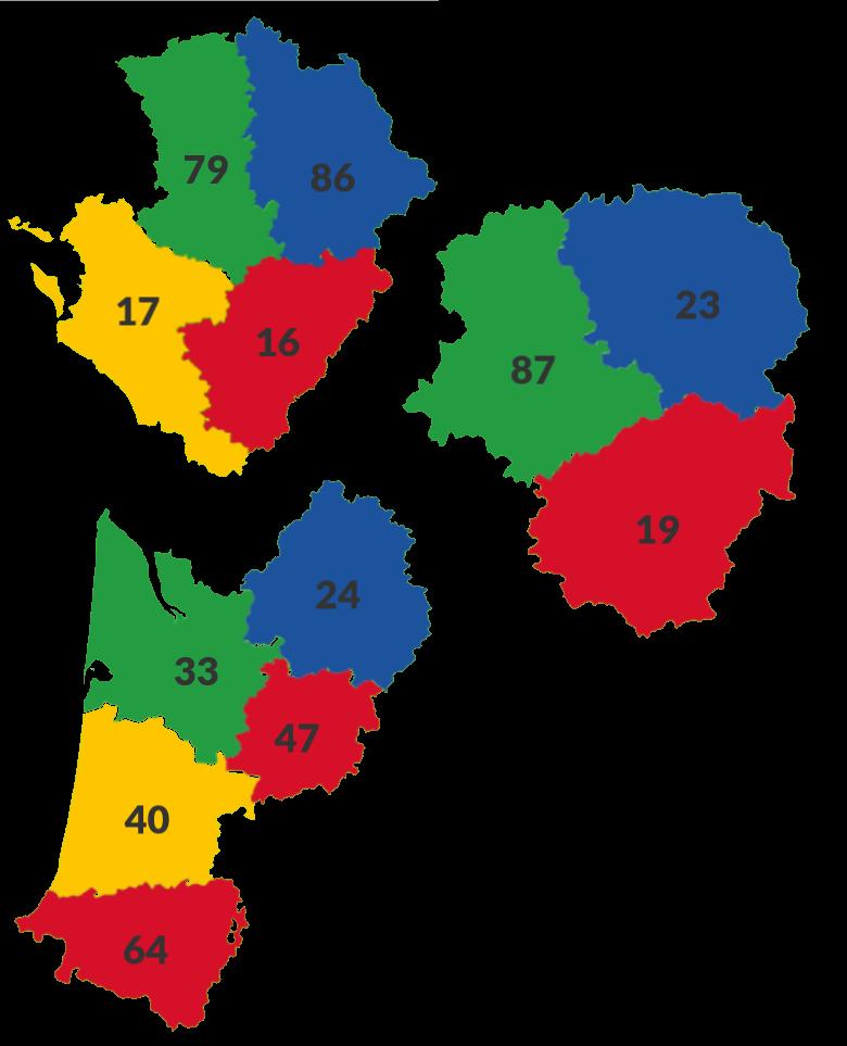 Les départements de la région Nouvelle-Aquitaine
